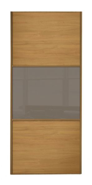Wideline sliding wardrobe door, Oak frame, Oak-Cappuccino-Oak